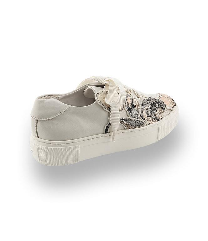 Sneaker Bestickten Blüten Agl Pailletten Offwhite Mit XTOPkZiuw
