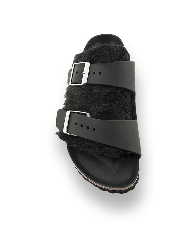 Birkenstock schwarz Arizona Leder mit Kuhfell |