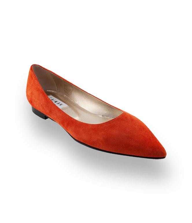 Spitzer Caiman Ballerina in orange Veloursleder